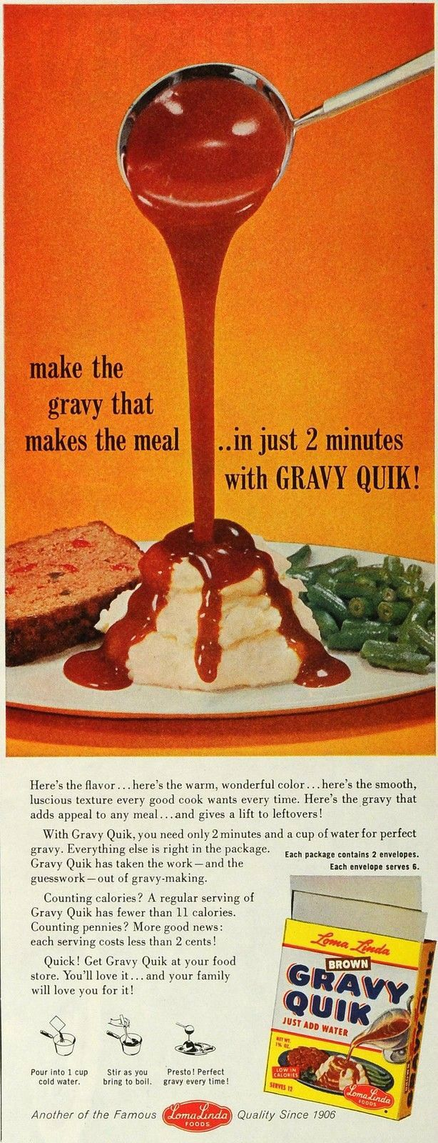 1959 loma linda foods advert for loma linda bown gravy quick seventh day