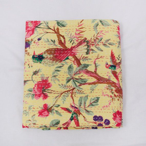 Handmade  Bird Print Kantha quilt floral kantha quilt by Moomal, $64.99