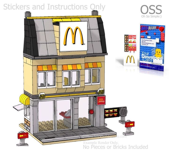 Oss stickers lego custom burger fast food instructions city easy decal 8403