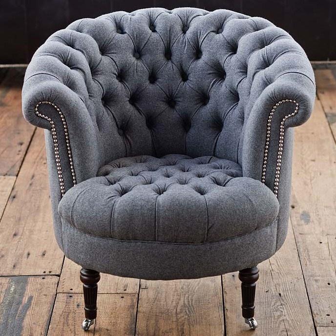 amazing regina andrew gray wool tufted tub chair!