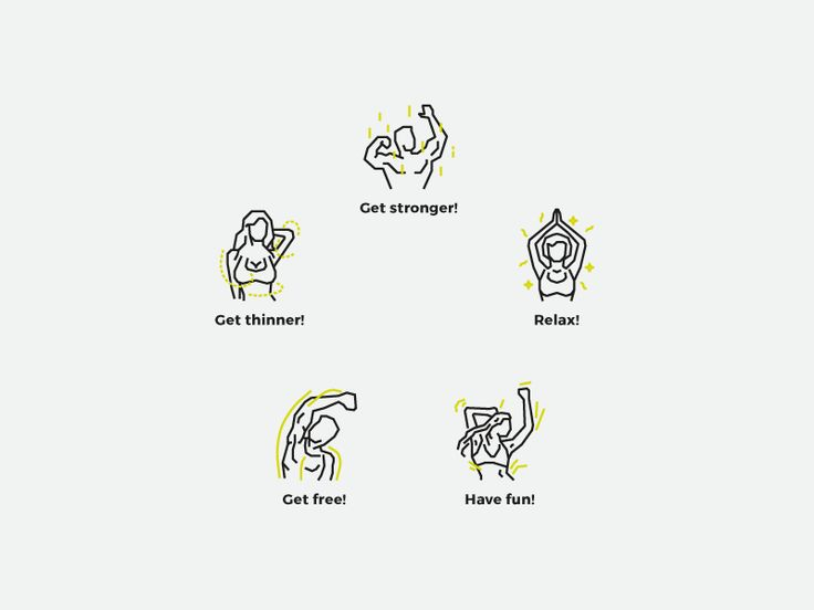 Five icons for five different categories of exercises in my client gym.  Get stronger: Cross fit, ABT Get thinner: Hit Cardio, Interval step Relax: Yoga, Fit and Balance Have fun: Zumba, Step Get f...