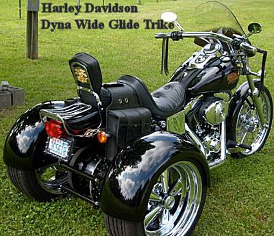 Harley Davidson Dyna Wide Glide Trike (this motorcycle is for example only; please contact seller for pics of the actual custom trike  for sale) This Harley Dyna Wide Glide Trike for Sale by owner is a gorgeous, Old School, easy-To-ride - LOWRIDER motorcycle that has custom EVERYTHING! It has just