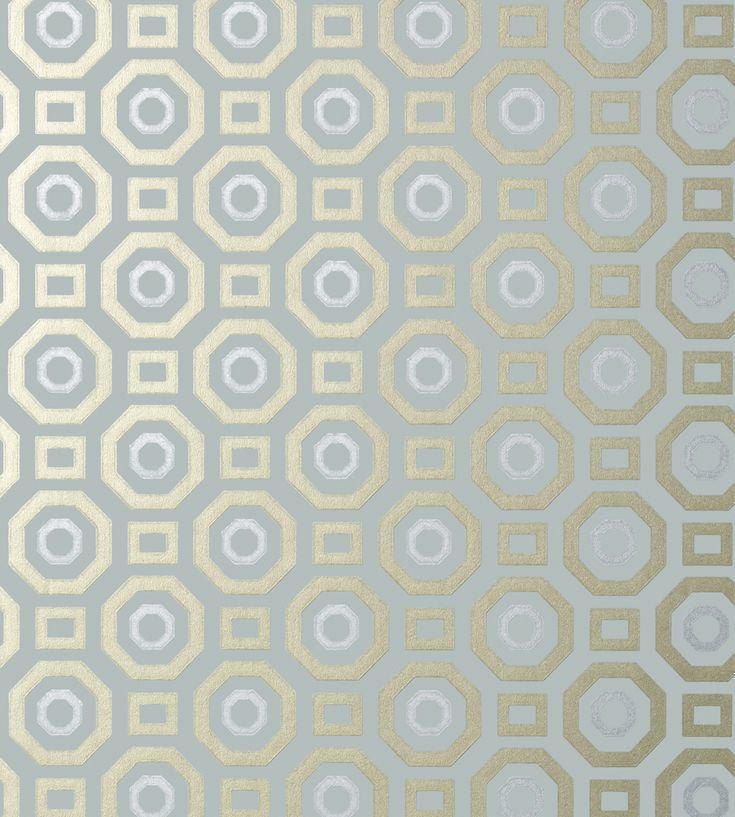 Zane - Metallic on Aqua wallpaper, from the Seraphina Wallpaper collection by Anna French