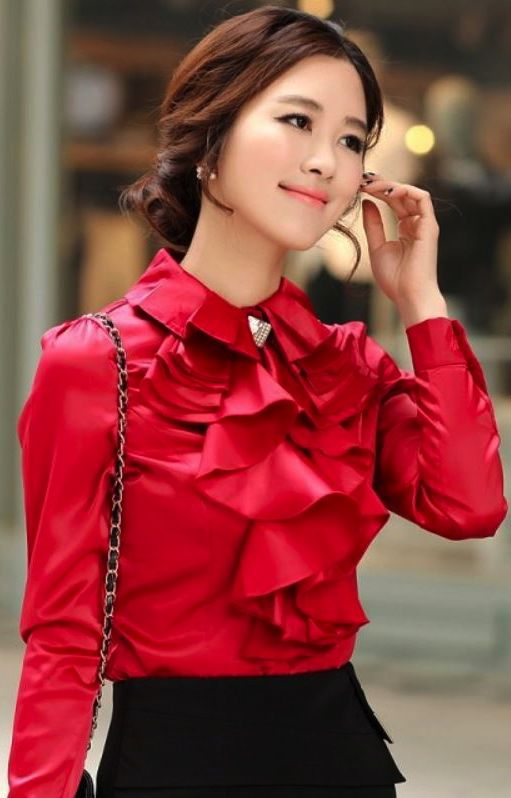 Red Ruffled Top Blouse
