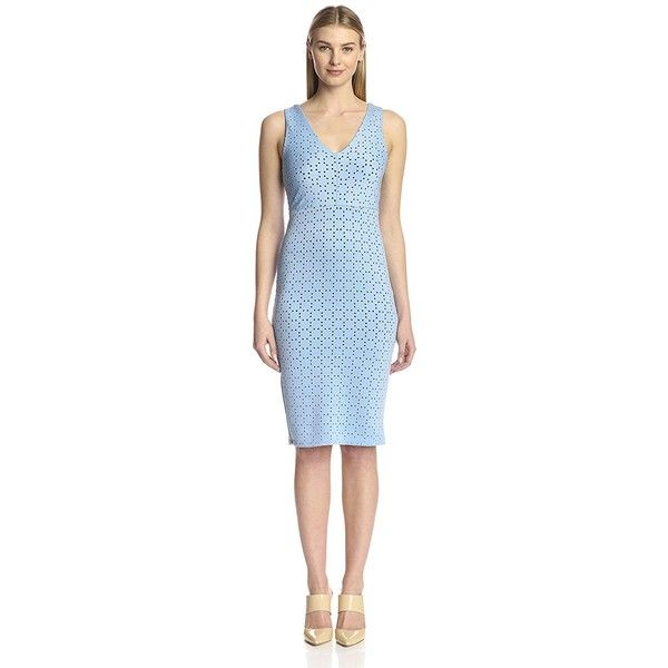 S.H.E. Soul Harmony Energy Women's Bodycon Dress ($35) ❤ liked on Polyvore featuring dresses, fitted cocktail dresses, blue bodycon dress, sheath cocktail dress, v neck cocktail dress and fitted dresses