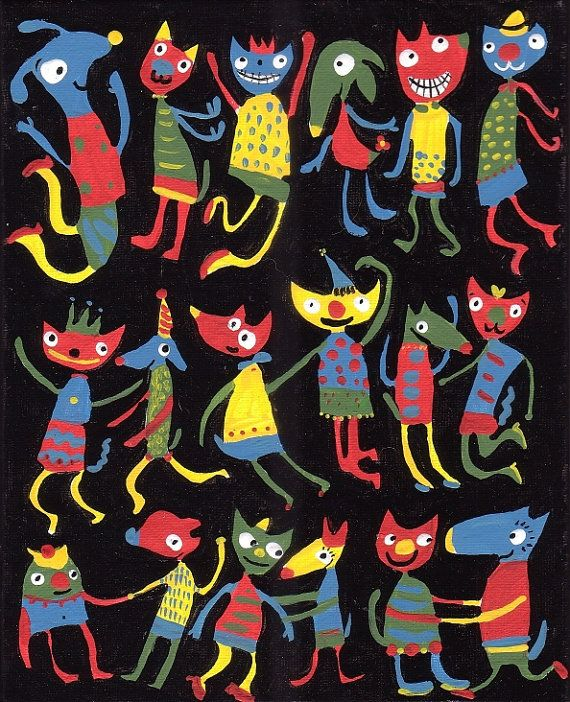 Fun Dogs and Cats Dance Art Print 8x10 - Dancing Animals Kids Childrens Room Decor - Primary Colors, Black, Red Yellow, Blue, Green via Etsy