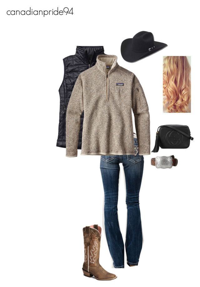 """CFR day one"" by canadianpride94 ❤ liked on Polyvore featuring Patagonia, Miss Me, Ariat and Gucci"