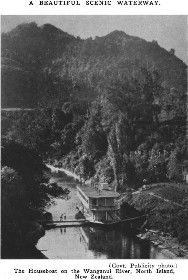 A Beautiful Scenic Waterway. (Govt. Publicity photo.) The Houseboat on the Wanganui River, North Island, New Zealand.