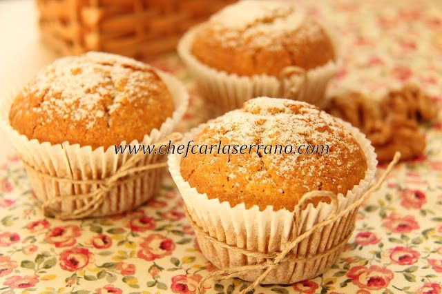 Muffins de Cenoura com Nozes - sem glúten e sem lactose