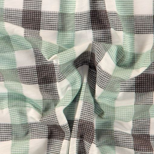 Cotton jersey off white with check - Stoff & Stil
