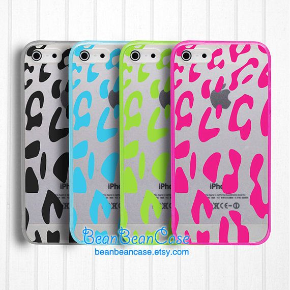 Leopard print iPhone 5C clear case iPhone 5s animal print transparent cover by BeanBeanCase