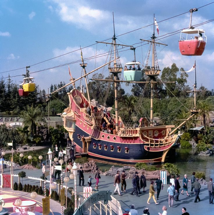 Daily Vintage Disneyland: Fantasyland in the 60's with the Chicken of the Sea Pirate ship, the Skyway and the Tea Cups. Visit our Blog for more more information on all of our photos & tips on taking great pictures in the Park.  Blog http://mickeyphotosdisneyland.blogspot.com