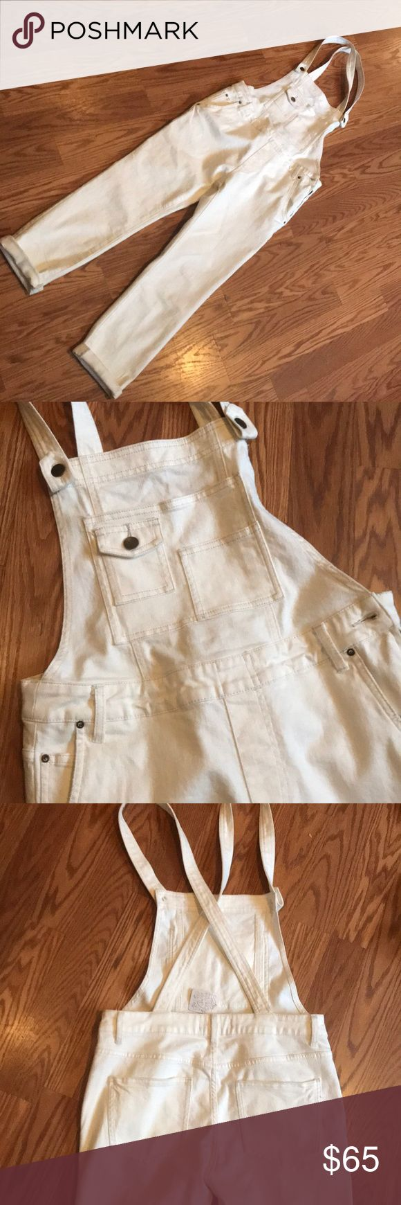 NWT FREE PEOPLE OVERALLS sz28 New with tags free people white overalls. Size 28. Super soft denim with stretch. Never been worn, but they have accumulated some dust that will easily be removed with first wash or by dry cleaners. Free People Jeans Overalls