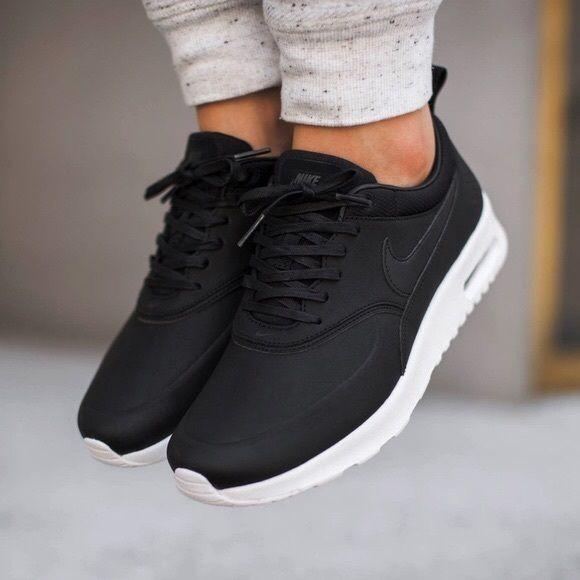 Nike Air Max Thea Black Premium Leather SneakersNWT