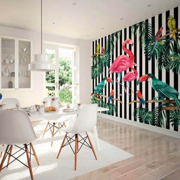 Island Life Wallpaper Wall Mural by Ohpopsi, Bold black stripes with Tropical birds, Parrots & Flamingos