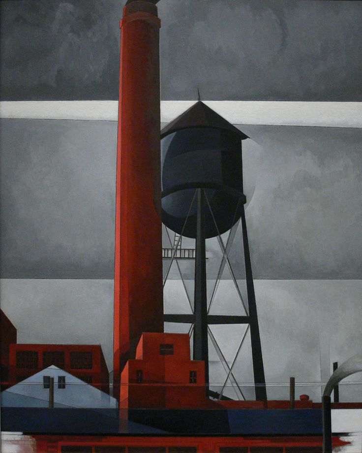 Charles Demuth Chimney and Water Tower, 1931 Oil and Graphite on Fiberboard