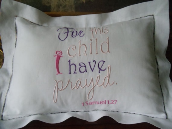 Exquisite Linen Hemstitched Baby Pillow For Babys by Rorograce, $25.00