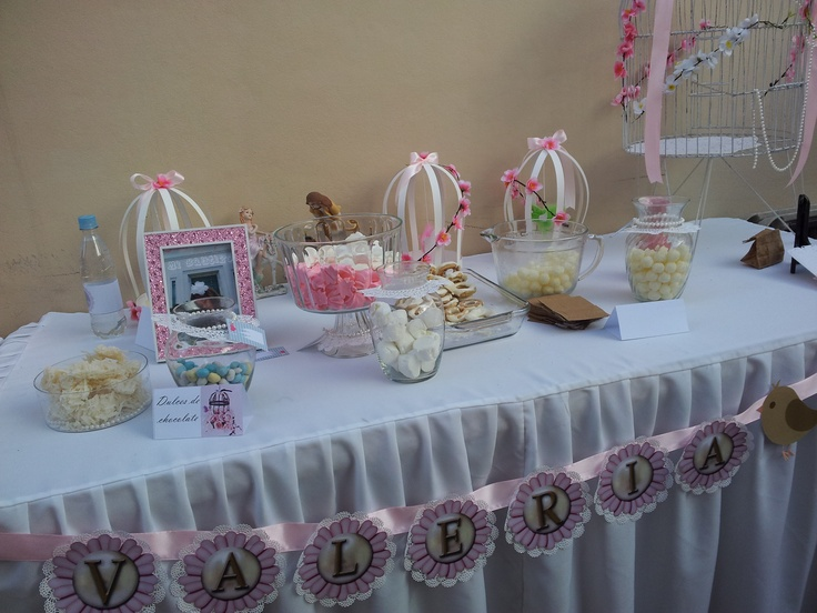 Birdcage lace SUD Baptism theme: Candy Bar Table