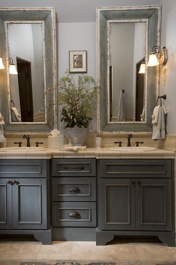 French Country bathroom, gray washed cabinets, mirrors with painted frames, chippy paint...