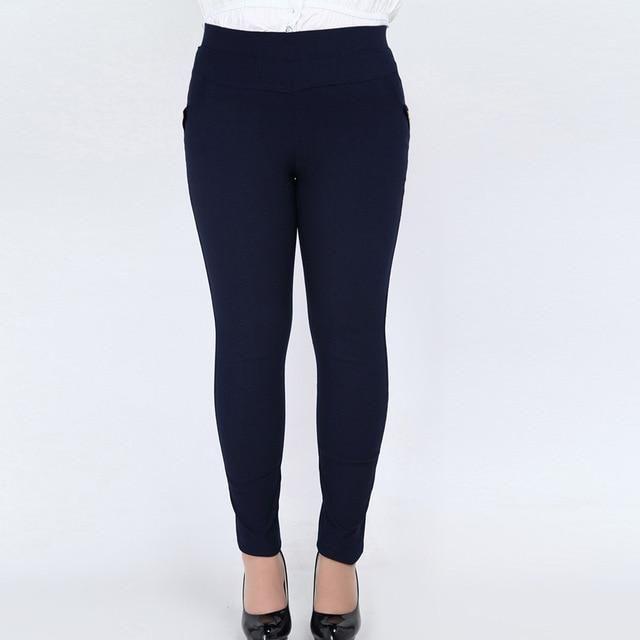 Vintage Plus Size 4Xl 5Xl 6Xl High Elastic Cotton Pencil Pants Women High Waist Slim Casual Pants Trousers Leggings JM-D71-7083_