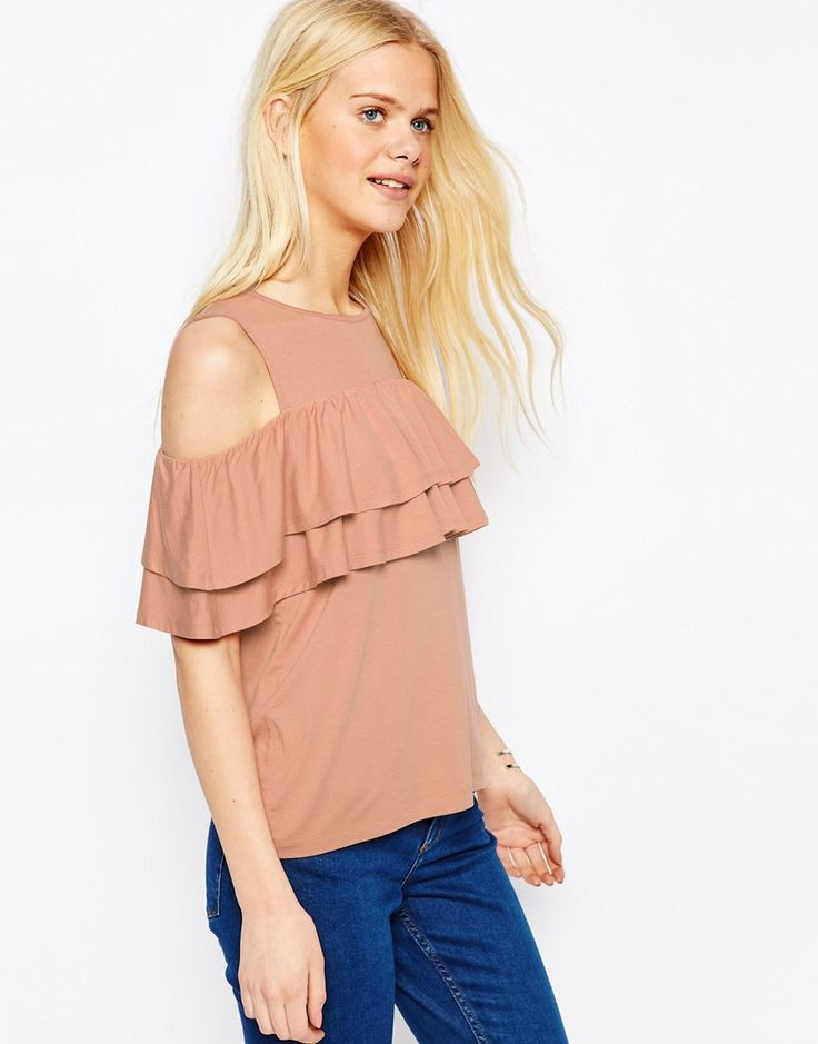 Image 1 of ASOS Ruffle Top With Cold Shoulder