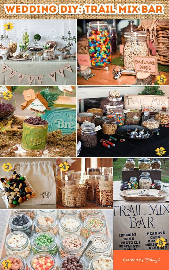 DIY Trail Mix Bar for a Wedding! Tips and inspiration for planning a trail mix bar for a summer or fall rustic wedding. #trailmixbar #weddingtrailmix #rusticweddings