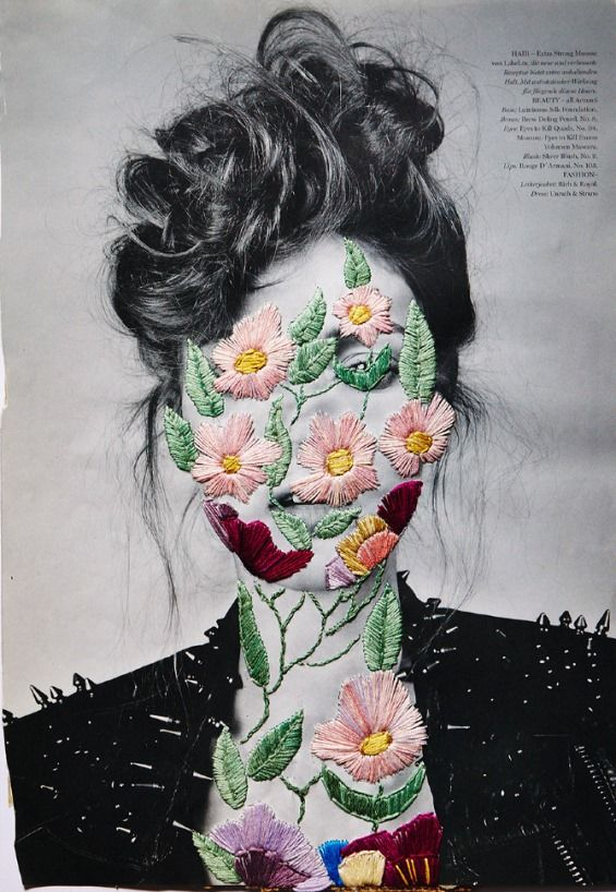 Embroidery Art Accents Photographs And Magazine Pages