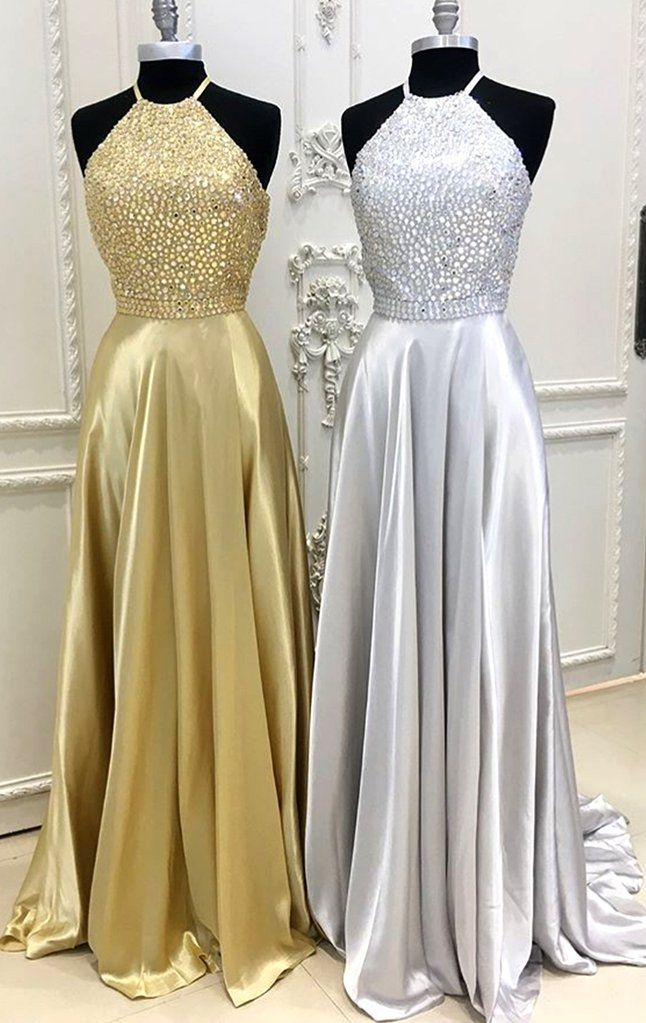 2195cbfeb27 MACloth Halter Crystals Chiffon Silver Long Prom Dress Gold Formal Evening  Gown