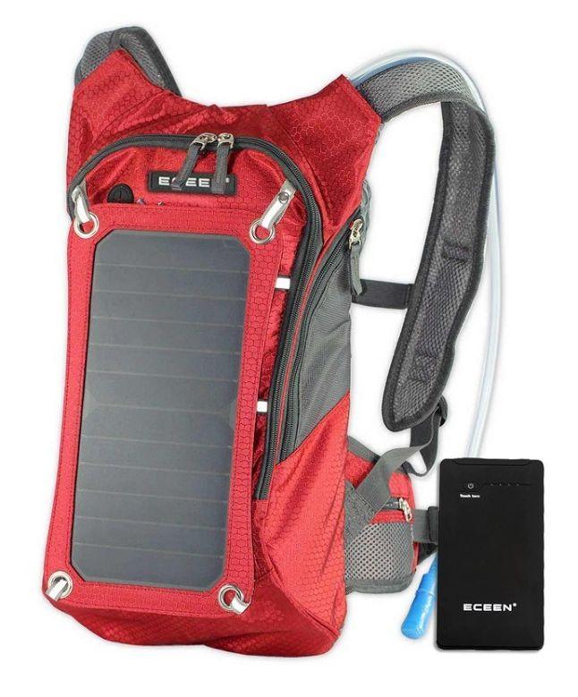Mochila solar para ciclismo con vejiga