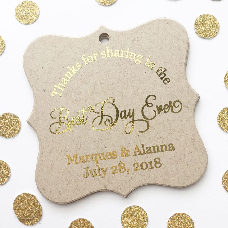 Thanks for Sharing in the Best Day Ever Color Foil Wedding Favor Hang Tags (FS-16-FKR)