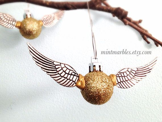 Harry Potter Inspired Golden Snitch Ornament. Christmas. Decoration. Glitter Silver Wings. Sparkle. Fantasy. Wizard. Champagne Golden Ball.