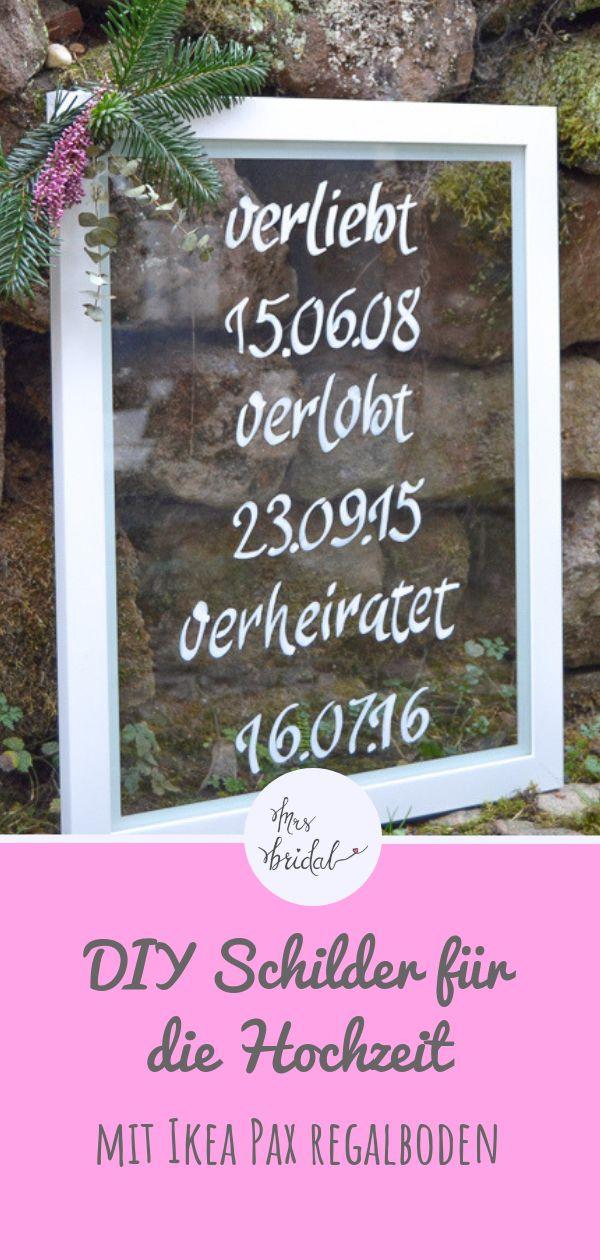 DIY Schilder für die Hochzeit auf Glasscheibe