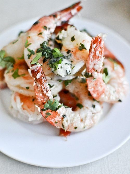 Roasted Basil Butter Parmesan Shrimp