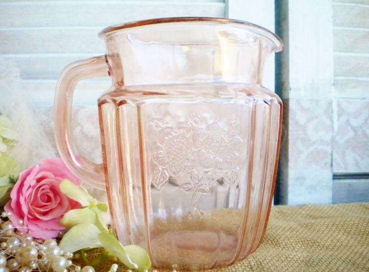 Pink Depression Glass Pitcher Vintage Mayfair Open Rose