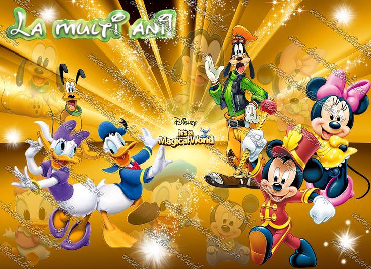 Imagine comestibila Mickey si prietenii - 1 Imagine comestibila, imprimata pe foaie de icing de dimensiunea unei coli A4, utilizata pentru decorarea torturilor.