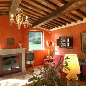 Living room at Casa Antica Cortona Tuscany.