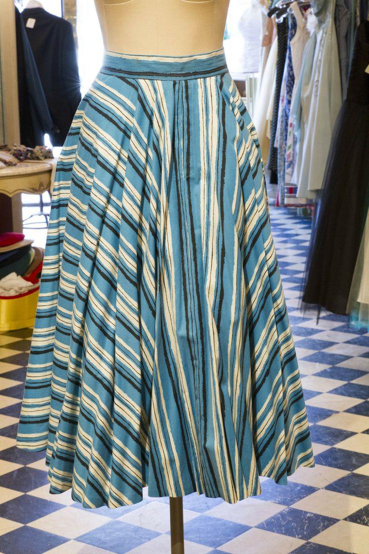 Cabaret Vintage - Ladies Vintage Blue, White, Black Stripe Skirt, $125.00 (http://www.cabaretvintage.com/vintage-skirts/ladies-vintage-blue-white-black-stripe-skirt/)  #vintageskirt  #vintage #dressvintage #shopping #vintagestore #vintagefashion #ilovevintage #vintagelove #vintagegirl #vintageshopping #vintageclothing #vintagefinds #vintagelover #vintagelook #followme #skirtoftheday #ootd #shopitrightnow #instastyle #torontovintage #toronto #queenwest #cabaretvintage