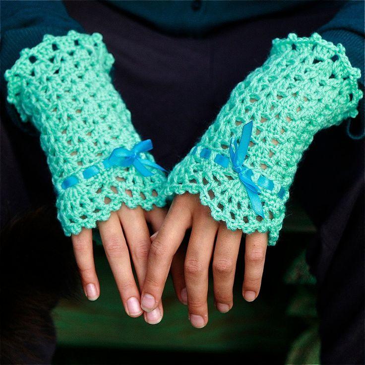 Crochet Wrist Warmers with Lace Edging - PDF PATTERN. $3.75, via Etsy.