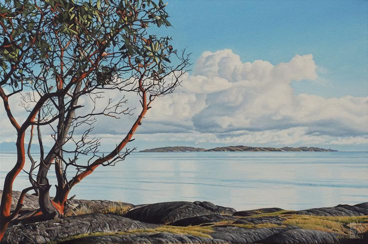 "Ron Parker - Early Spring Arbutus - oil on canvas - 20"" x 30"""