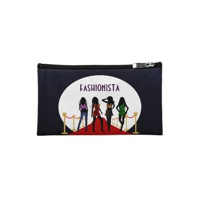 trendy fashion custom medium sueded or suede makeup case or cosmetics bag features a vector graphic illustration of the silhouette of four gorgeous young glamorous female fashion divas or models modeling and posing in their stylish outfits on the red carpet.