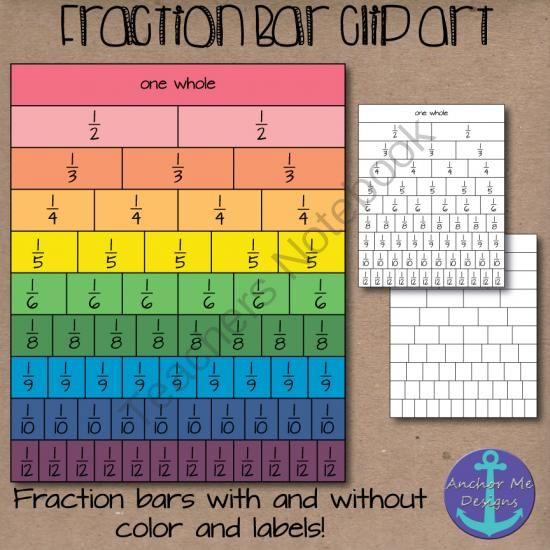 Fraction Bar Shaded Clip Art- halfs to fifths, sixths, eights-tenths & twelfths from Anchor Me Designs on TeachersNotebook.com -  (73 pages)  - Fraction Bar Shaded Clip Art- halfs to fifths, sixths, eights-tenths & twelfths