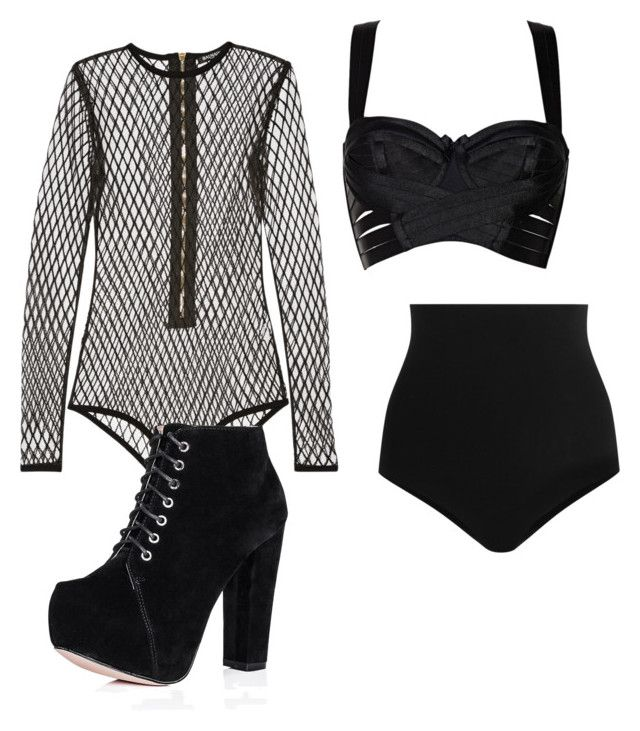 """""""Stage Outfit"""" by pizza-lover02 ❤ liked on Polyvore featuring Balmain, Bordelle and Wolford"""