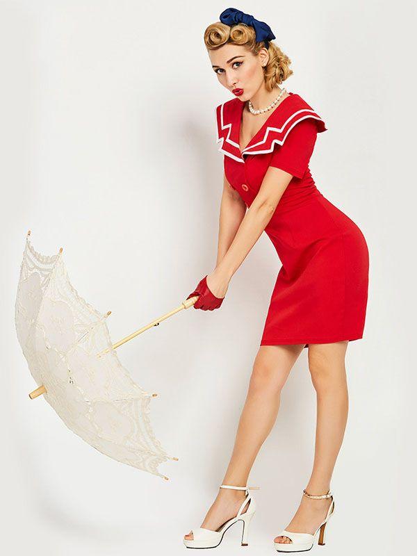 Sisjuly women luxury bodycon dress vintage nautical style button dresses summer female red retro pencil bodycon dress 2017 new