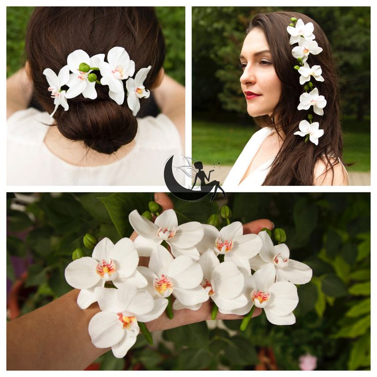 Cold porcelain orchid hairpins for brides