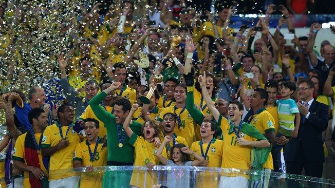 Brazil lifting the 2013 Confederations Cup trophy after defeating Spain 3-0