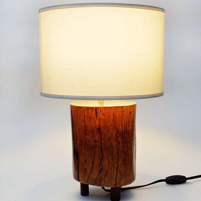 """""""Gomez.  Reclaimed cylindrical hardwood base. Off-white canvas shade #ylayastudio #lampshade"""""""