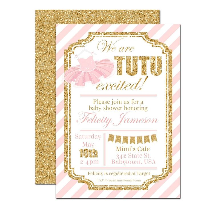 Pink and Gold Tutu Baby Shower Invitation | www.foreveryourprints.com