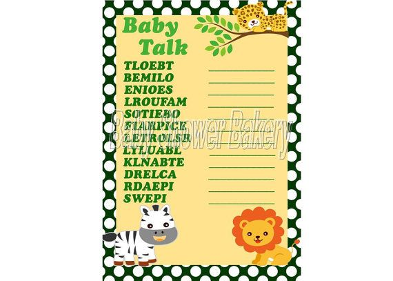 baby shower word scramble game printable baby shower game jungle baby shower game printable word scramble game instant download