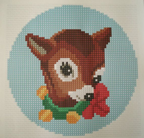 Bambi cross stitch pattern. Needlepoint tapestry by cupcakecutie1