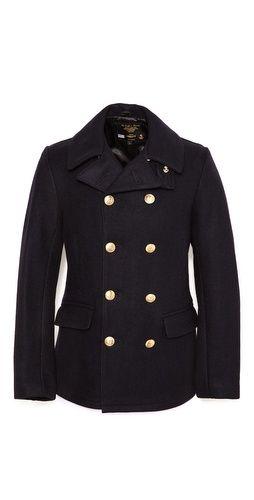 Fidelity by Gerald & Stewart Melton Wool Pea Coat with Brass Buttons